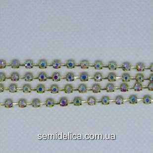 Стразовая цепь SS8 2.5мм, золото камень прозрачный с радужным АБ напылением
