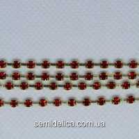 Стразовая цепь SS8 2.5мм, золото с красным камнем