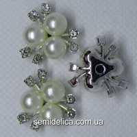 Серединка, кабошон Три жемчужины 21х20 мм, серебро