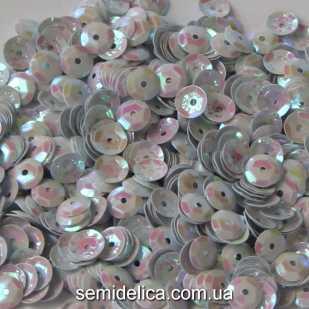 Пайетки 6 мм, белый с розовым отливом