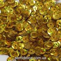 Пайетки с голограммой 6 мм, золото