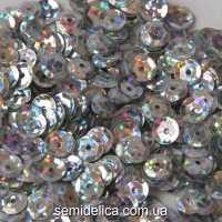 Пайетки с голограммой 6 мм, серебро