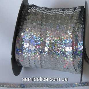 Пайетки с голограммой 6 мм на нитке, серебро