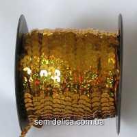 Пайетки с голограммой 6 мм на нитке, золото