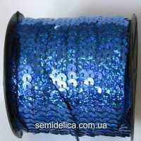Пайетки с голограммой 6 мм на нитке, синий