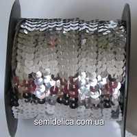 Пайетки 6 мм на нитке, серебро
