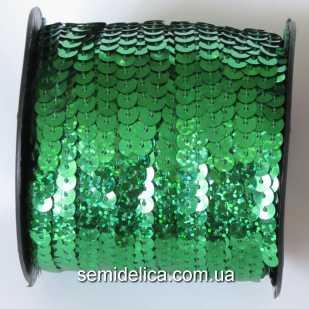 Пайетки с голограммой 6 мм на нитке, зеленый