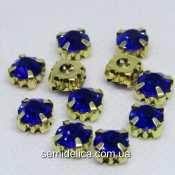 Стразы в золотых цапах 8 мм SS38, синий