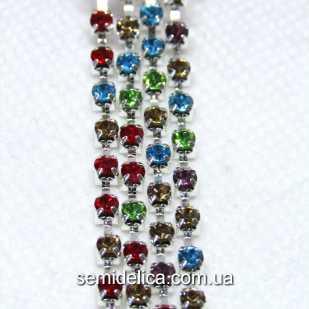 Стразовая цепь SS8 2.5мм, серебро с разноцветными камнями