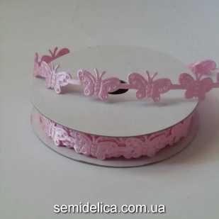 """Тесьма """"Бабочки"""" 1,5 см, розовый"""
